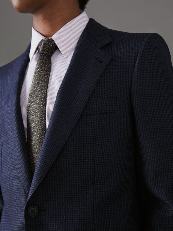 Slim Fit Puppytooth Wool Suit in Navy - Men | Burberry United States - cell image 1
