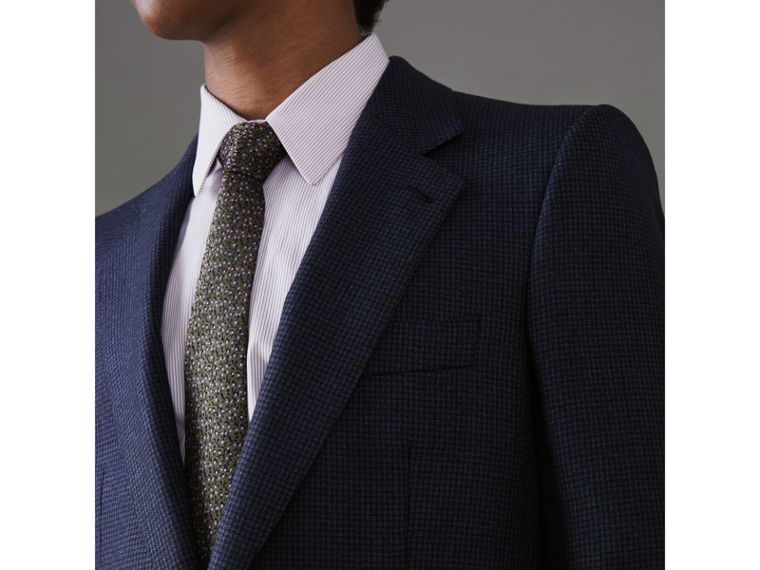 Slim Fit Puppytooth Wool Suit in Navy - Men | Burberry - cell image 1