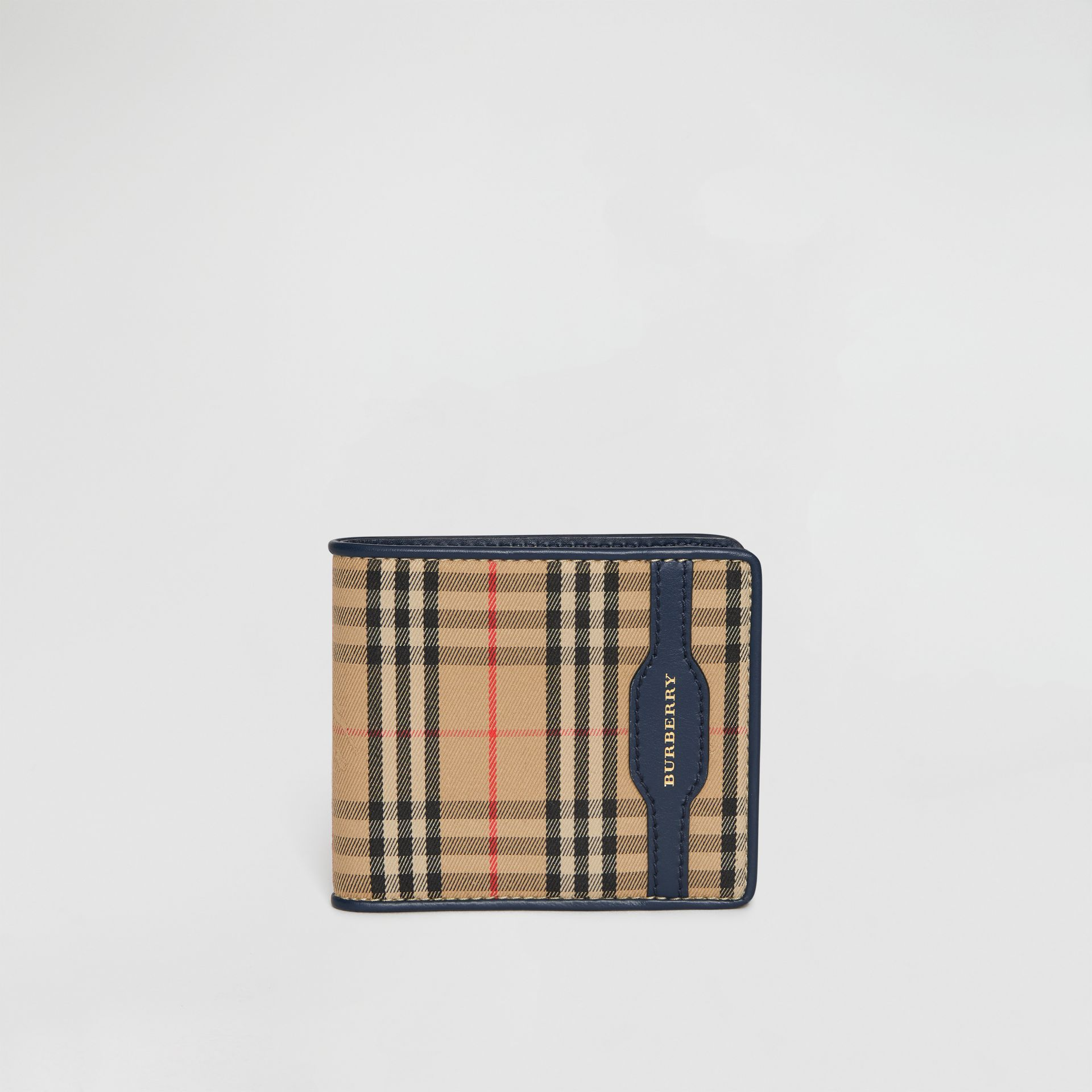 1983 Check and Leather International Bifold Wallet in Ink Blue - Men | Burberry Singapore - gallery image 2