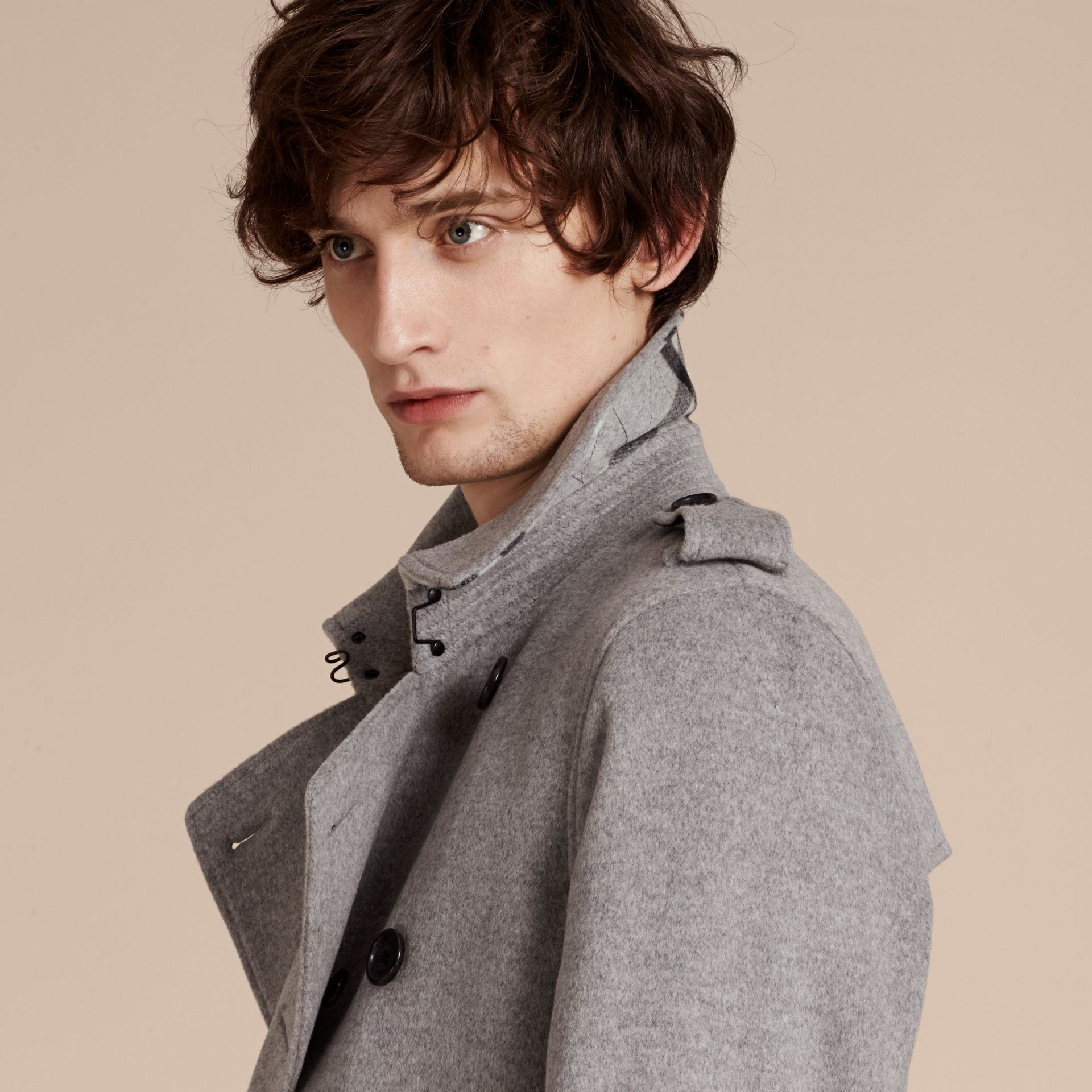 Pale grey melange Wool Cashmere Trench Coat Pale Grey Melange - gallery image 5