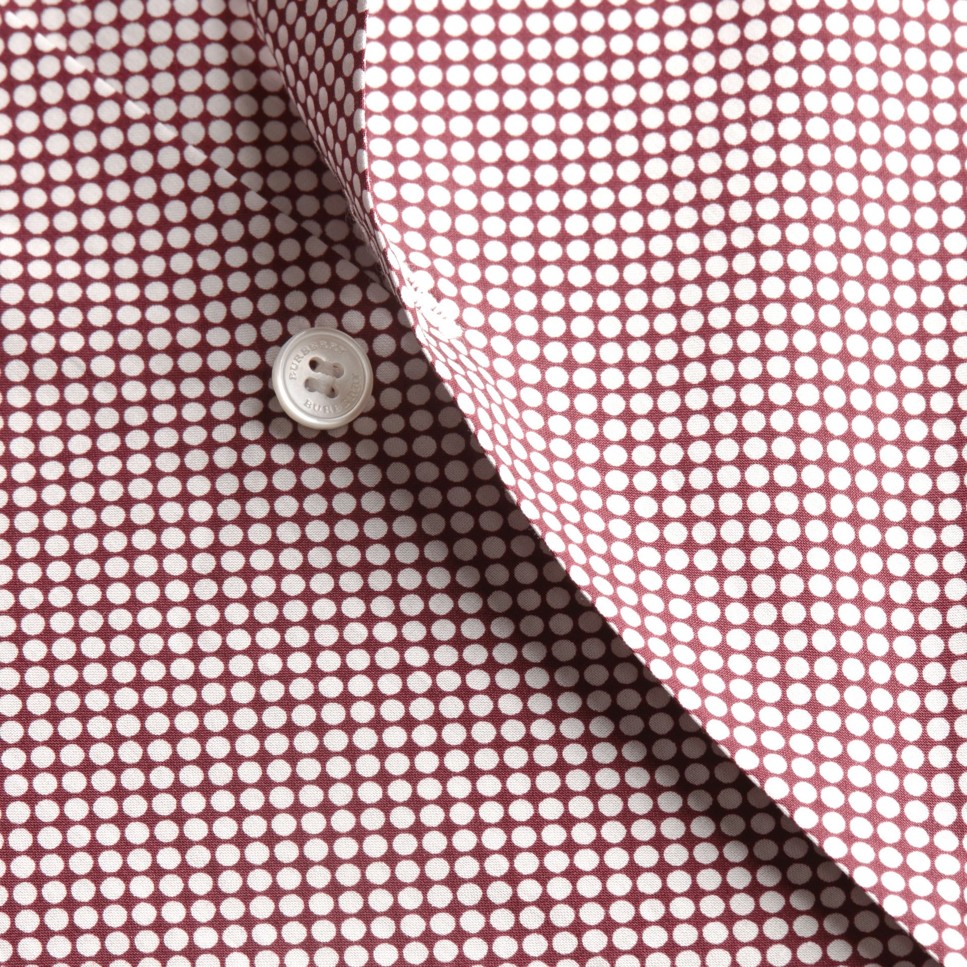 Carmine red Polka-dot Cotton Shirt Carmine Red - gallery image 2