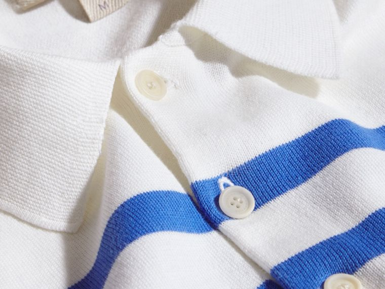 White/bright hydrangea blue Striped Cotton Polo Shirt White/bright Hydrangea Blue - cell image 1