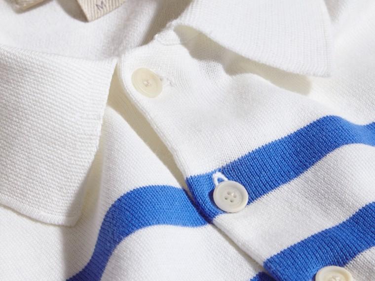 Blanc/bleu hortensia vif Polo en coton rayé Blanc/bleu Hortensia Vif - cell image 1