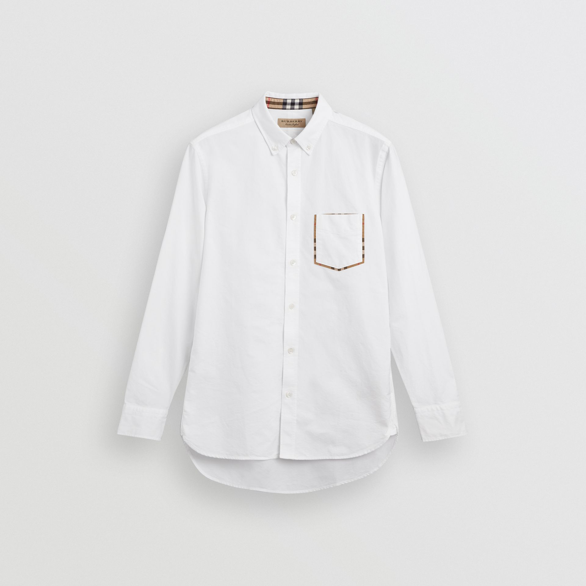 Check Detail Cotton Oxford Shirt in White - Men | Burberry Singapore - gallery image 3