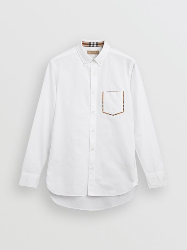 Check Detail Cotton Oxford Shirt in White - Men | Burberry Singapore - cell image 3