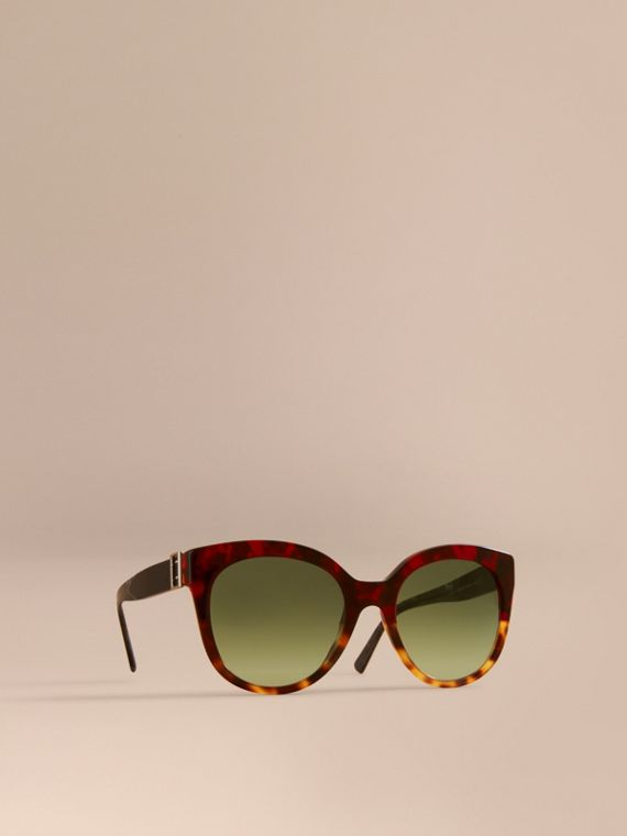 Buckle Detail Cat-eye Frame Sunglasses in Amber Yellow - Women | Burberry