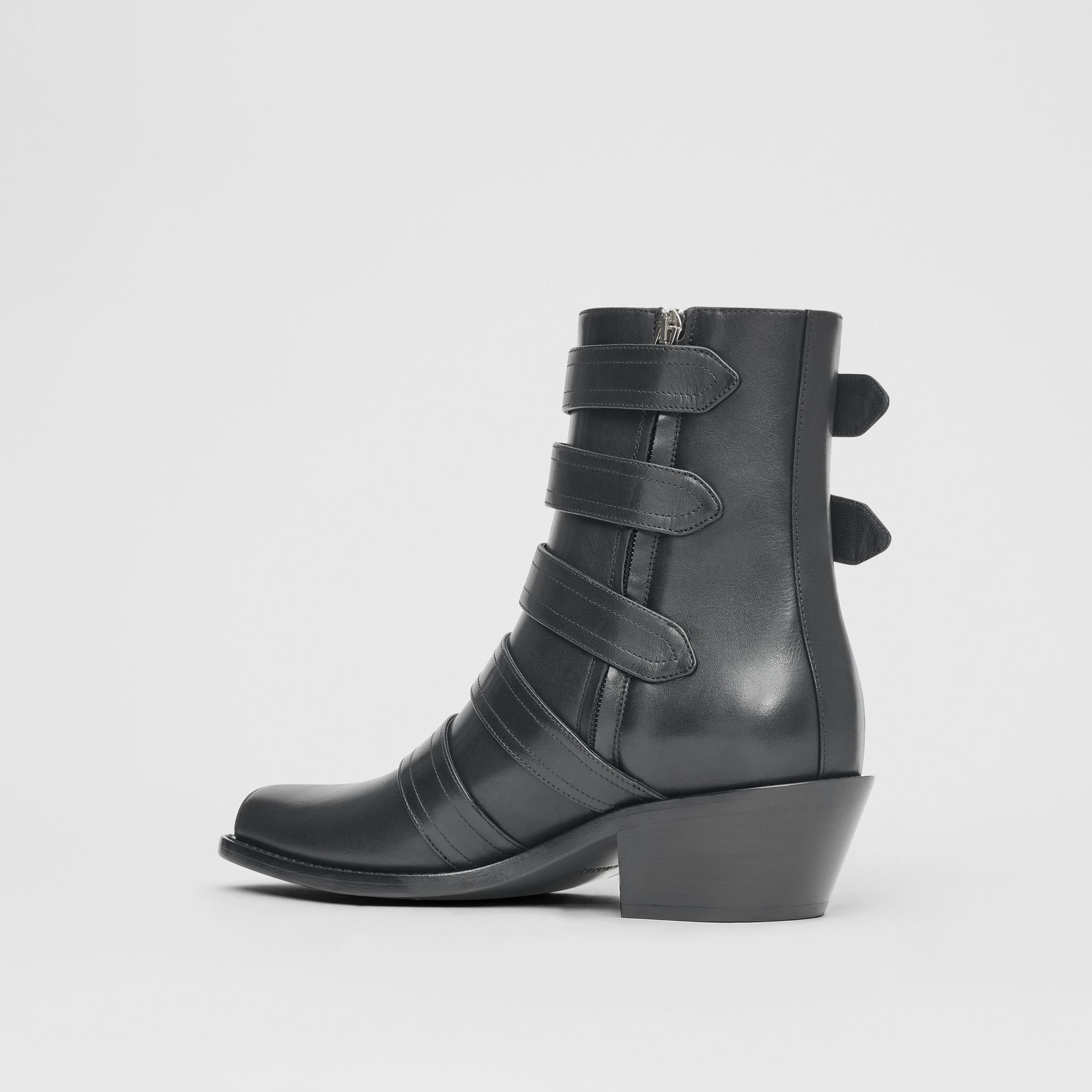 Buckled Leather Peep-toe Ankle Boots in Black - Women | Burberry - gallery image 5