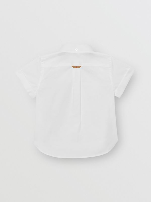 Short-sleeve Check Detail Cotton Oxford Shirt in White | Burberry - cell image 3