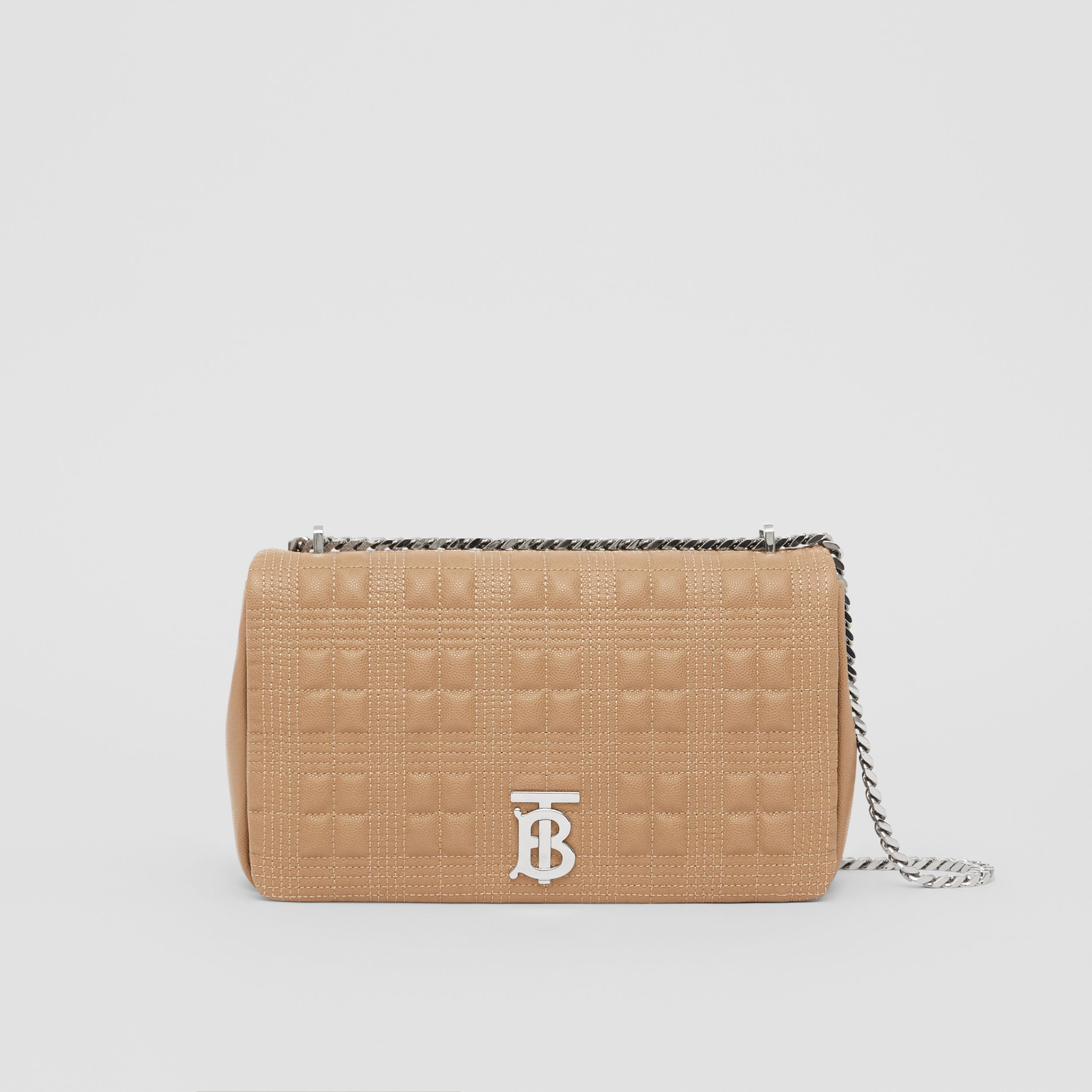 Medium Quilted Grainy Leather Lola Bag in Camel - Women | Burberry - 1