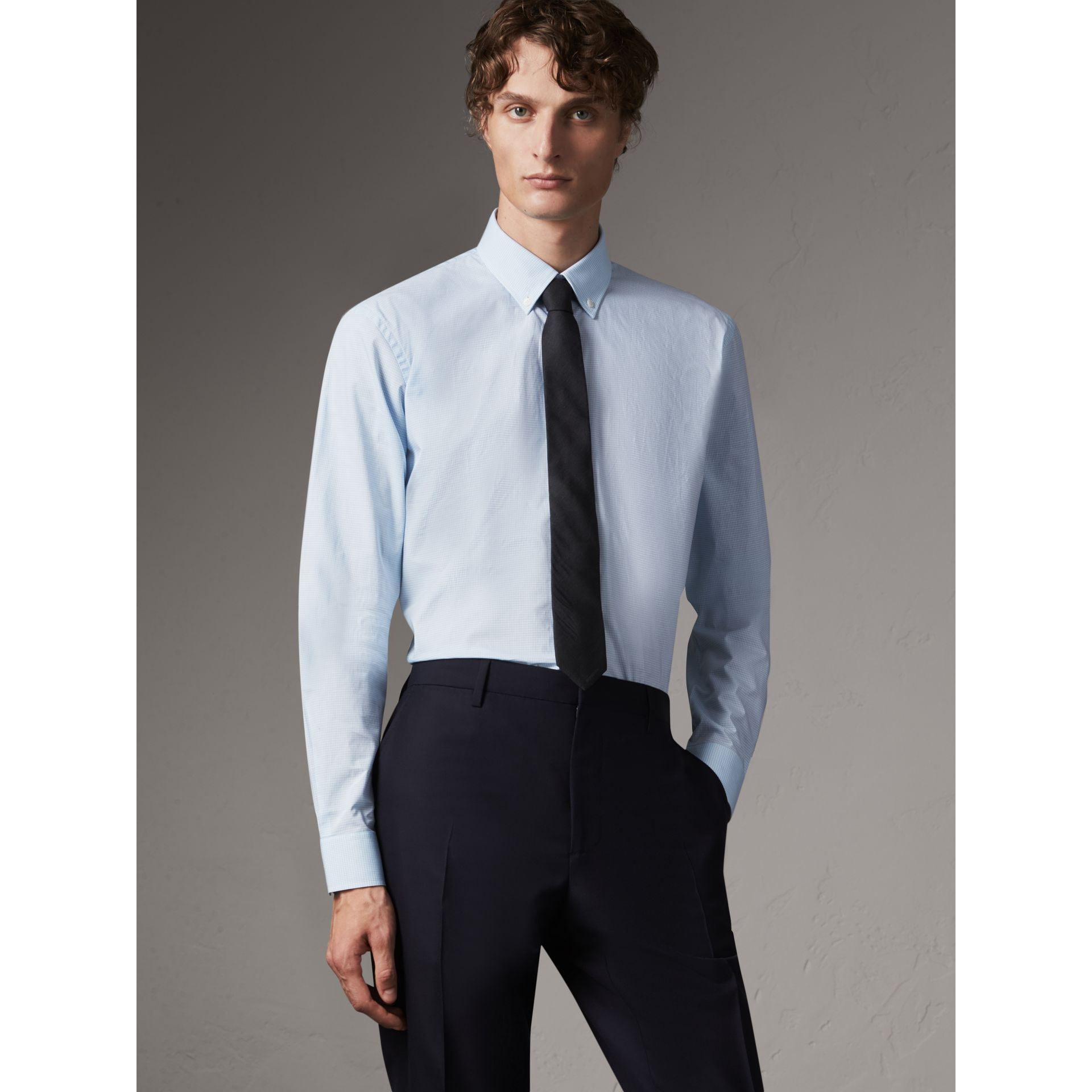 Modern Fit Stretch Cotton Shirt in City Blue - Men | Burberry - gallery image 1