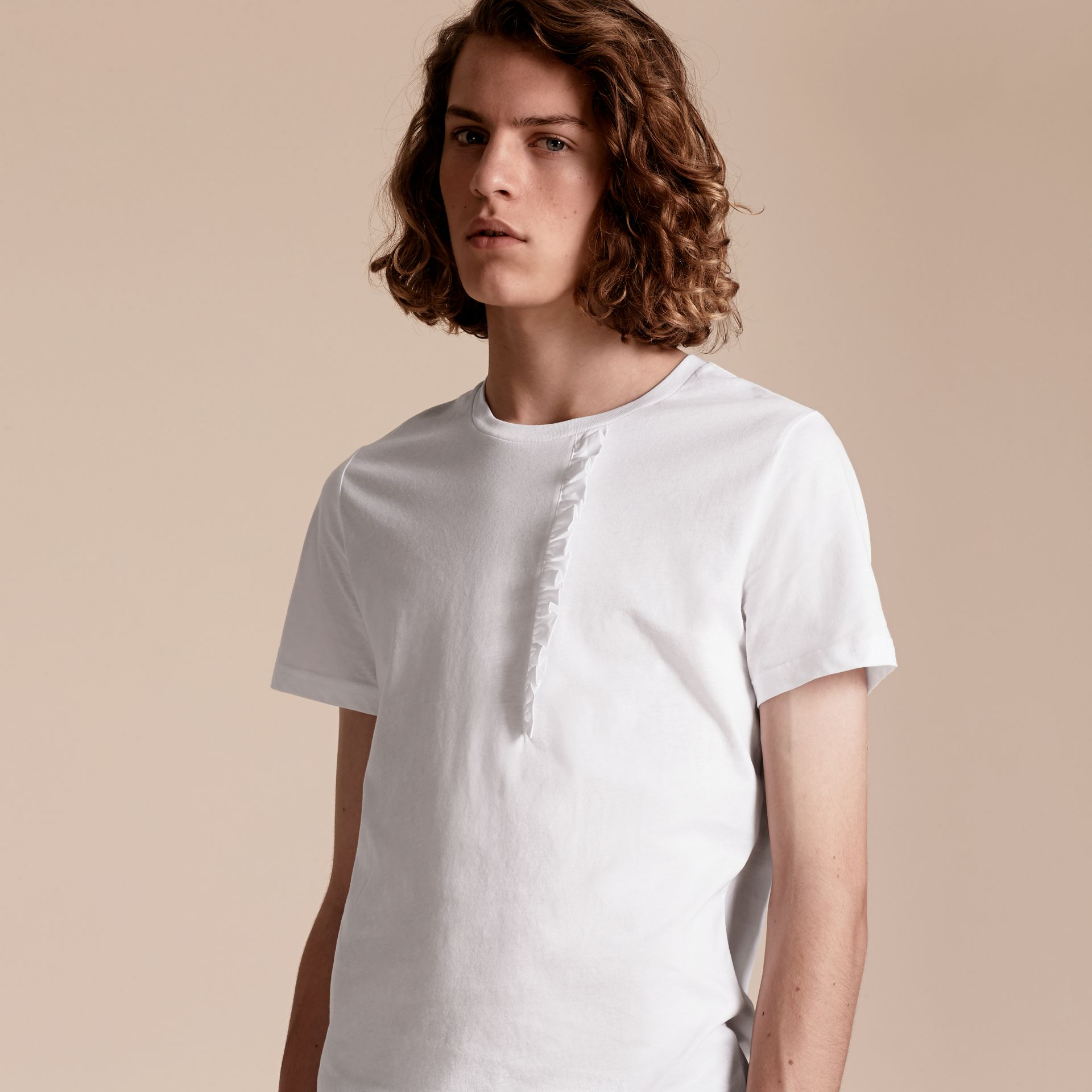 Ruffle Detail Cotton T-shirt in White - gallery image 6