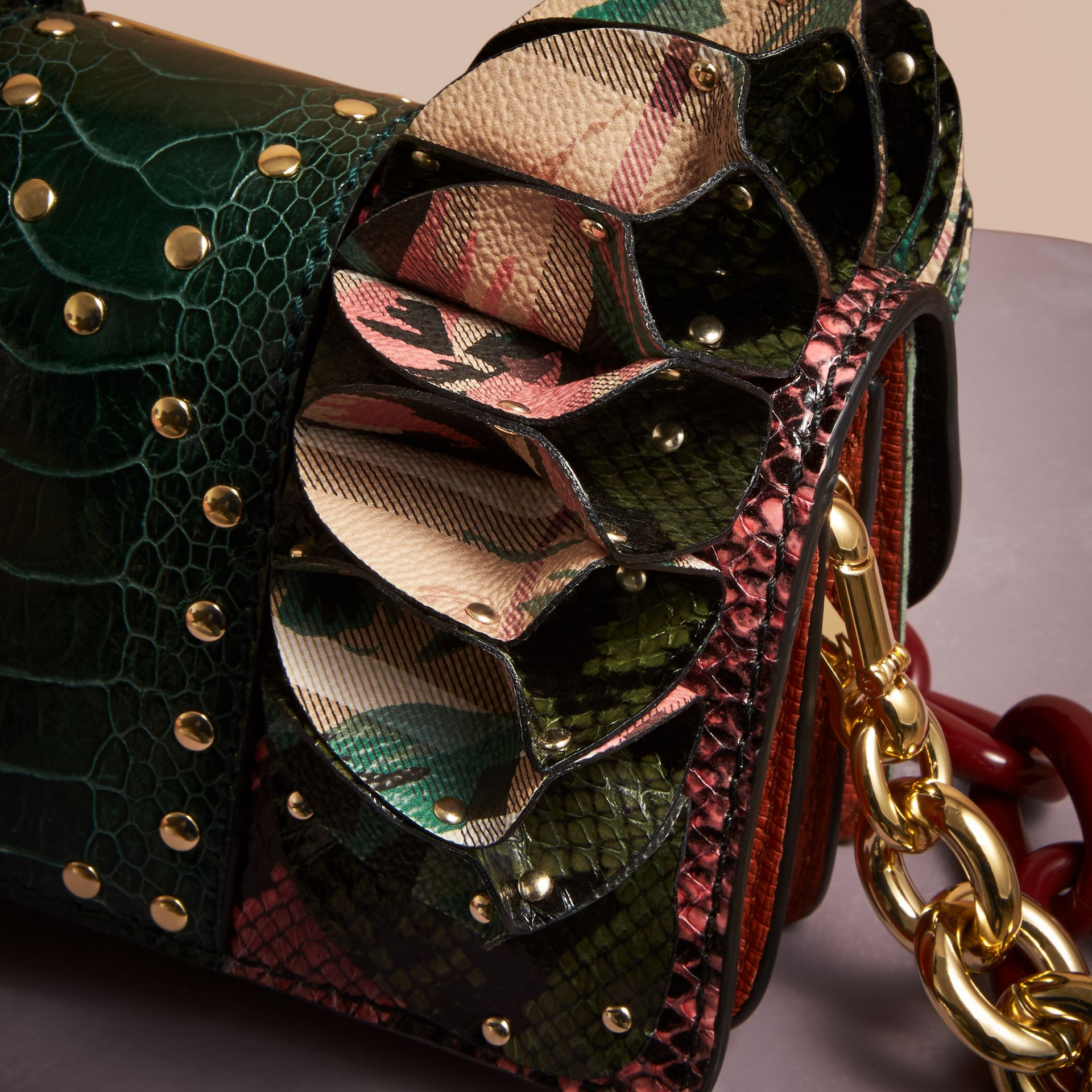 The Ruffle Buckle Bag in Snakeskin, Ostrich and Check in Rose Pink - gallery image 5