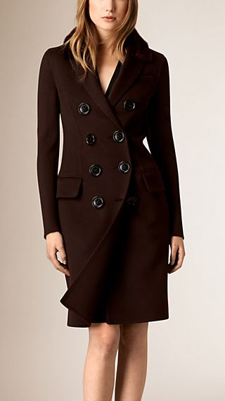 Double Cashmere Coat with Mink Topcollar
