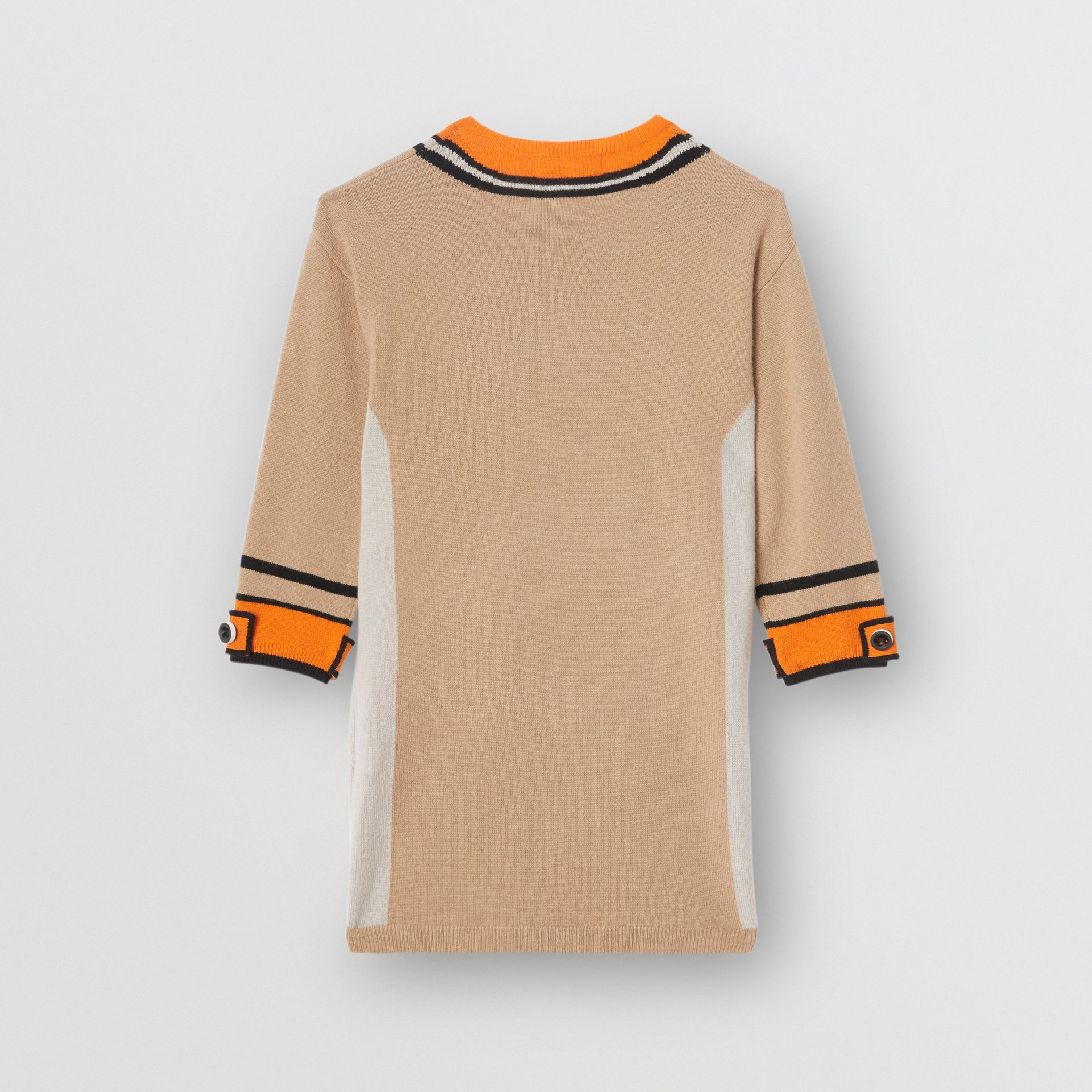 Trompe L'Oeil Intarsia Cashmere Sweater Dress in Archive Beige | Burberry United Kingdom - gallery image 3