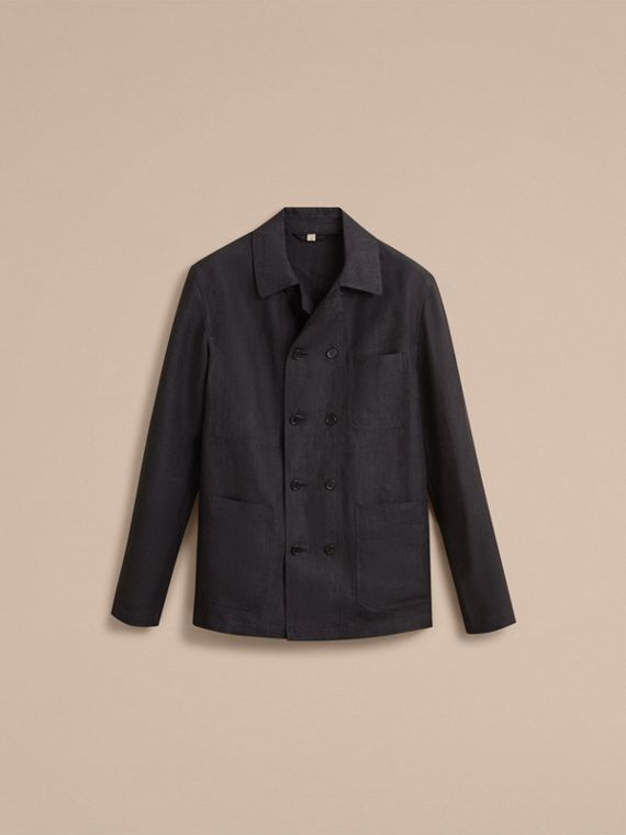 Linen Double-breasted Artist Jacket - Men | Burberry - cell image 3