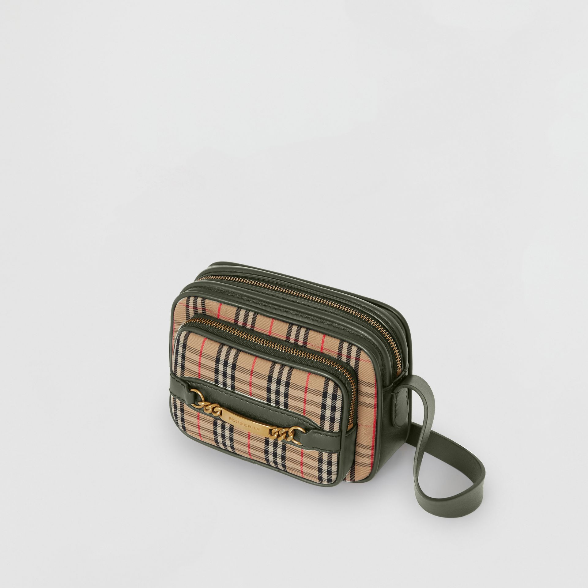 The 1983 Check Link Camera Bag in Dark Forest Green - Men | Burberry United States - gallery image 2