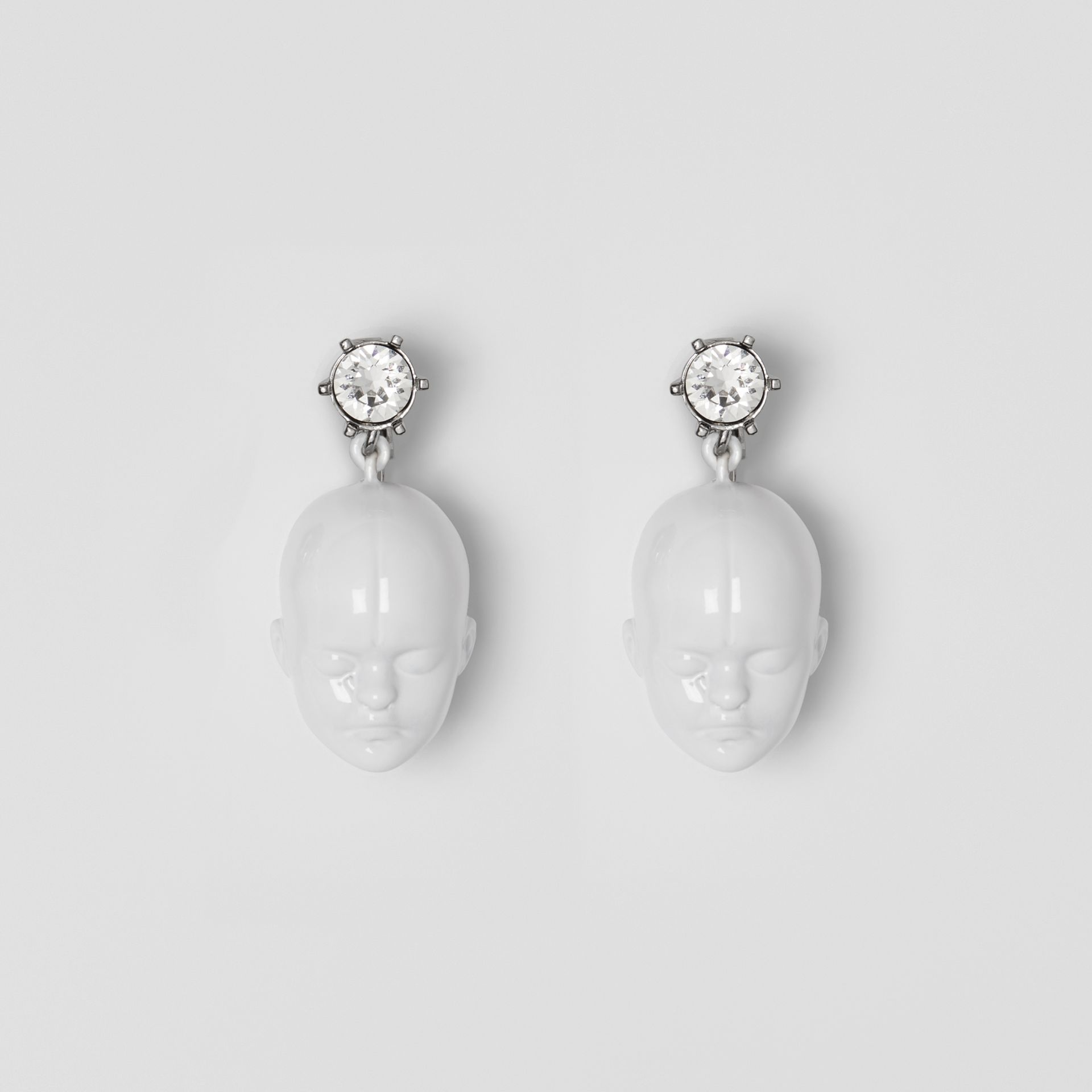 Crystal and Doll's Head Palladium-plated Earrings in White/palladium - Women | Burberry United Kingdom - gallery image 0