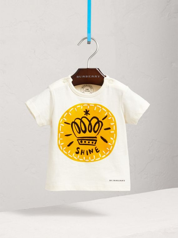 London Icons Print Cotton T-shirt in Natural White | Burberry Singapore - cell image 2