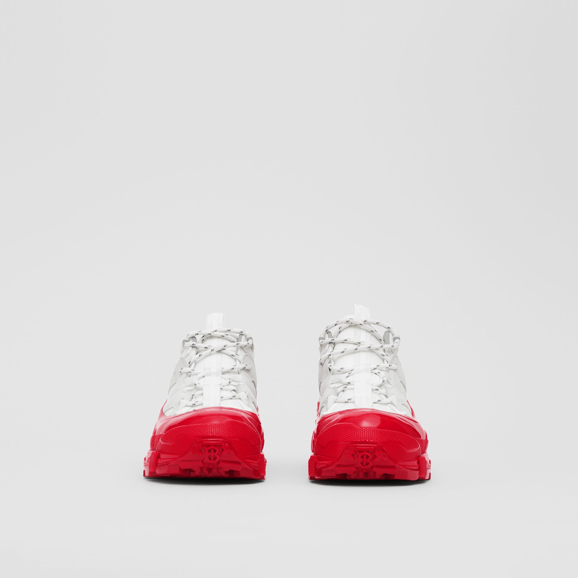 Nylon and Suede Arthur Sneakers in White/red - Women | Burberry United States - gallery image 3