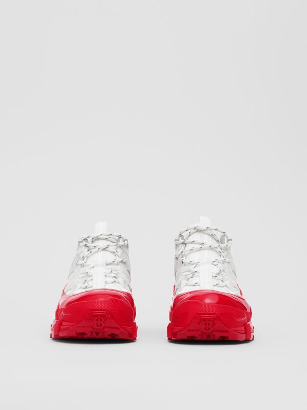 Nylon and Suede Arthur Sneakers in White/red - Women | Burberry - cell image 3