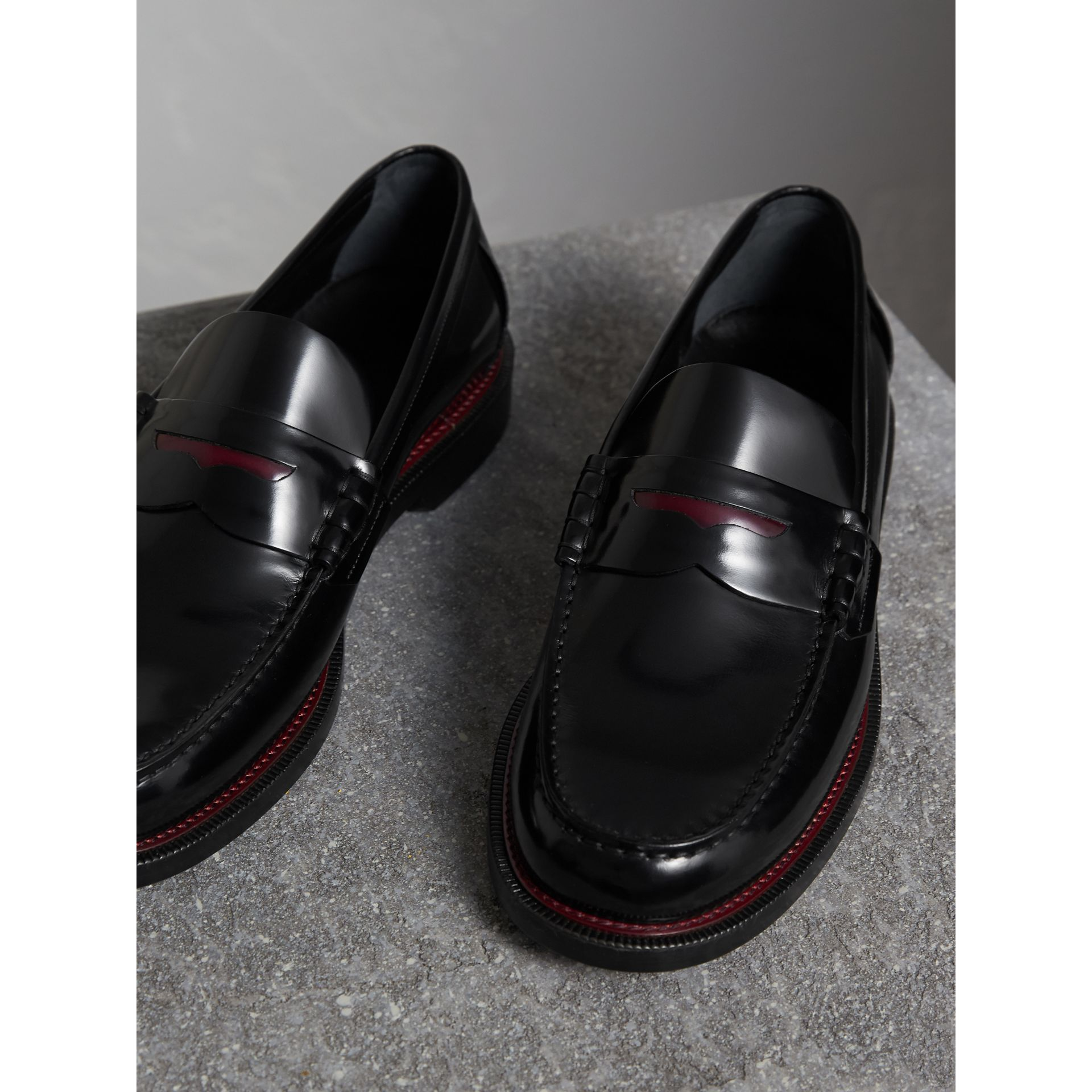 Two-tone Leather Penny Loafers in Black - Men | Burberry Canada - gallery image 4