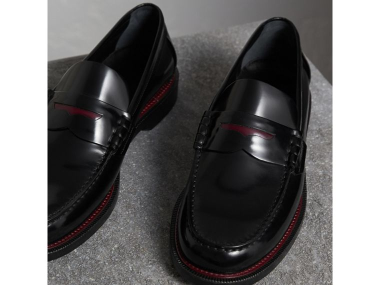 Two-tone Leather Penny Loafers in Black - Men | Burberry Canada - cell image 4