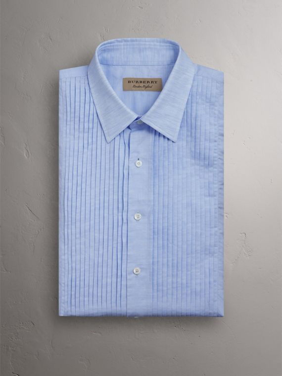 Modern Fit Linen Cotton Dress Shirt in Pale Blue - Men | Burberry - cell image 3