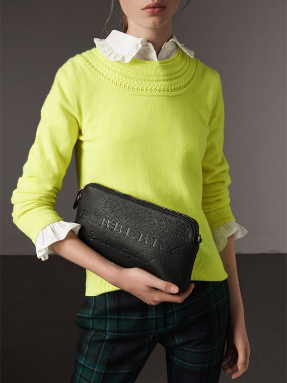 Embossed Leather Clutch Bag in Black - Women | Burberry Canada - cell image 3