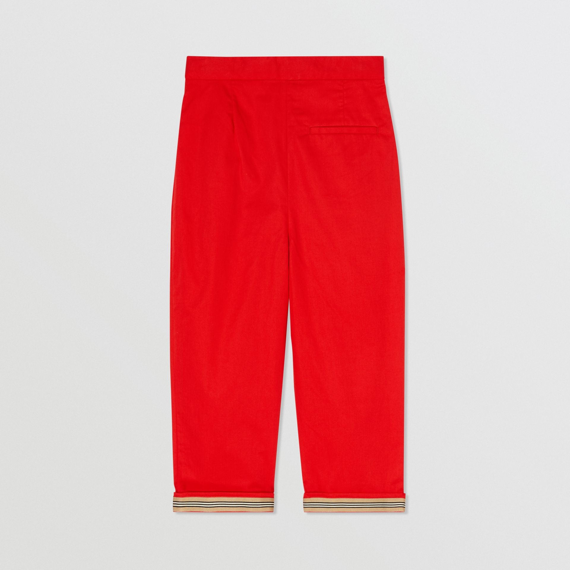 Cotton Twill Tapered Trousers in Bright Red | Burberry - gallery image 3