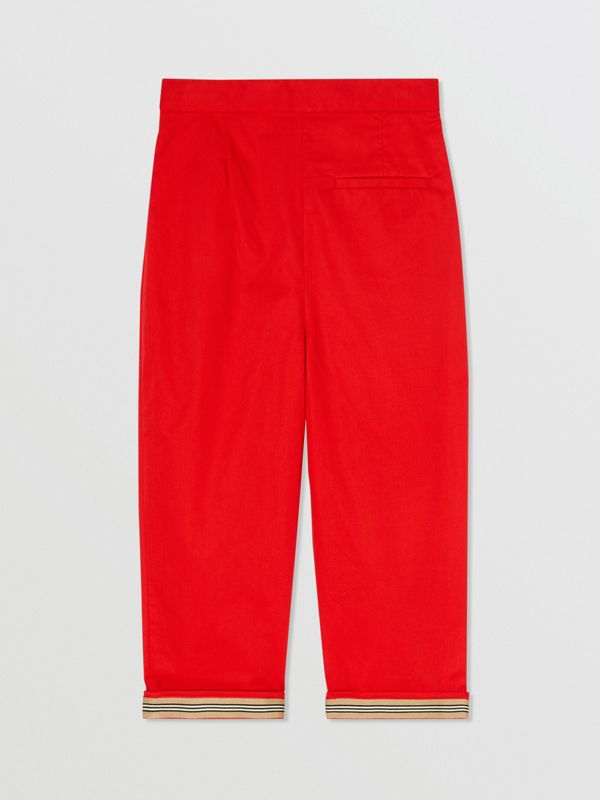 Cotton Twill Tapered Trousers in Bright Red | Burberry - cell image 3