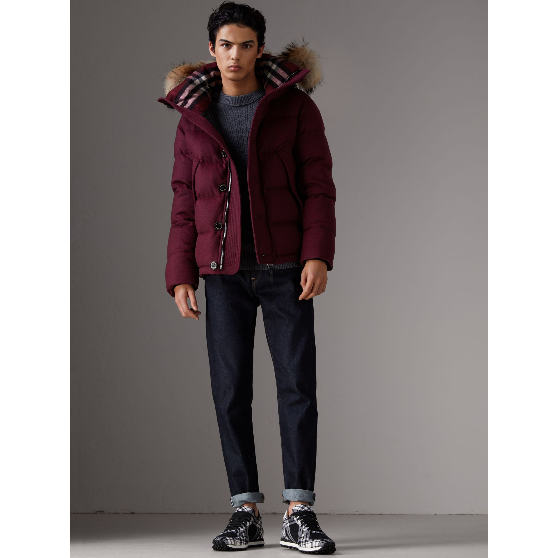 Short Detachable Fur Trim Cashmere Puffer Jacket in Dark Plum Melange - Men | Burberry - gallery image 5