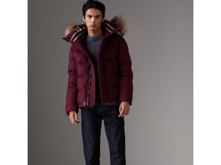 Short Detachable Fur Trim Cashmere Puffer Jacket in Dark Plum Melange - Men | Burberry - cell image 4
