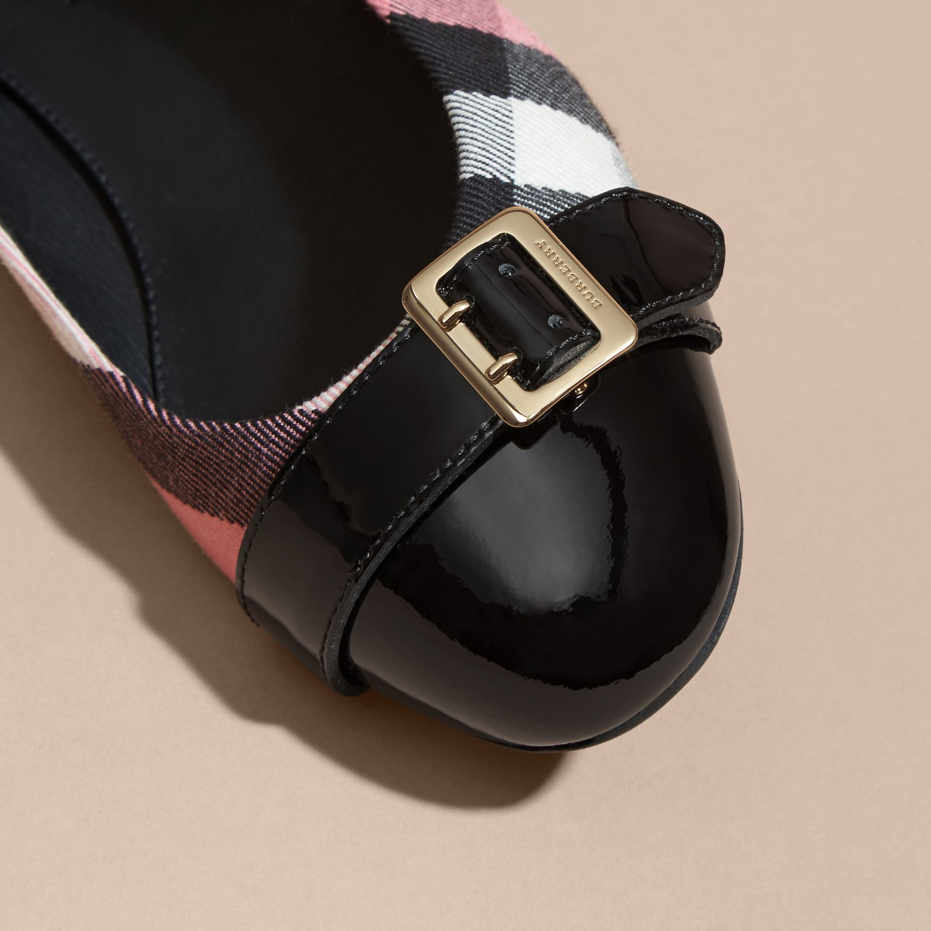 Rose pink Buckle Detail House Check and Patent Leather Ballerinas Rose Pink - gallery image 2