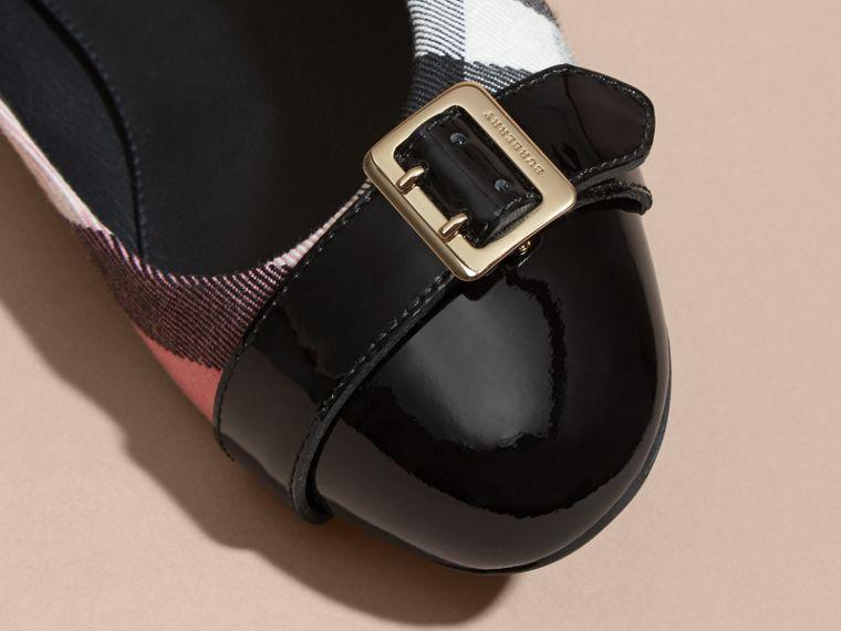 Buckle Detail House Check and Patent Leather Ballerinas Rose Pink - cell image 1