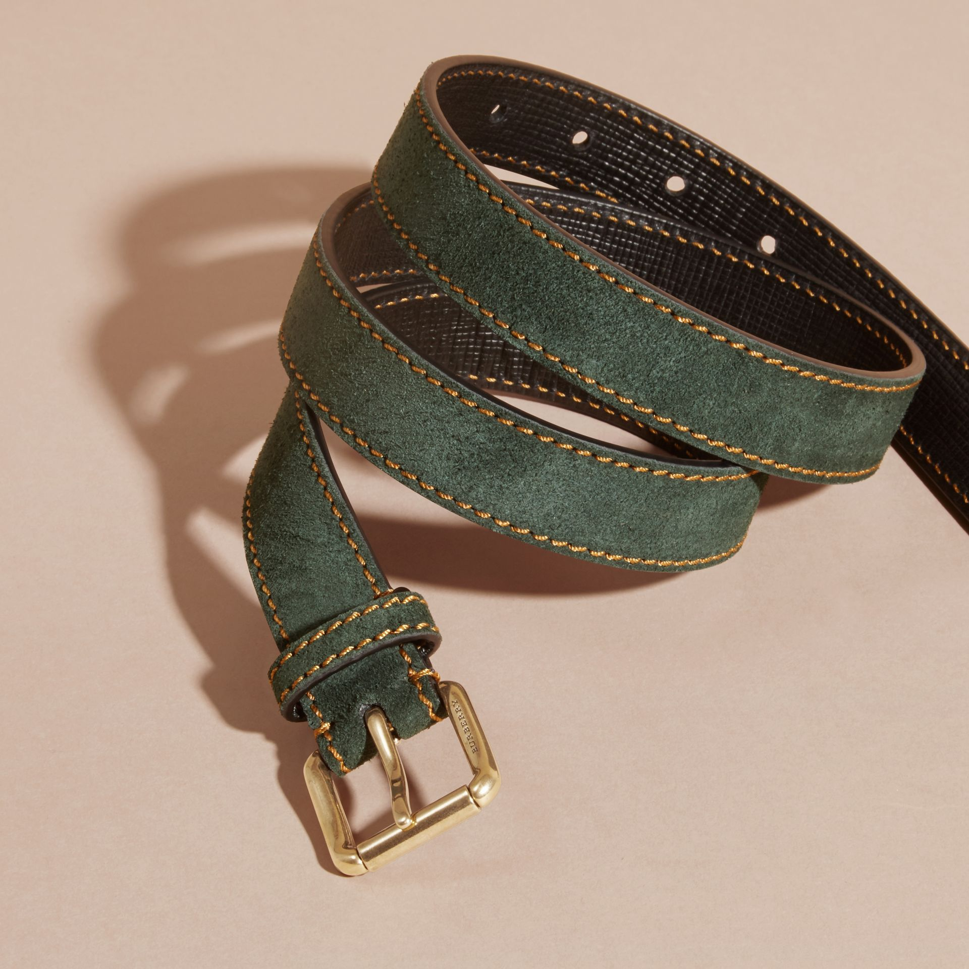 Dark forest green English Suede Belt with Topstitch Detail - gallery image 3