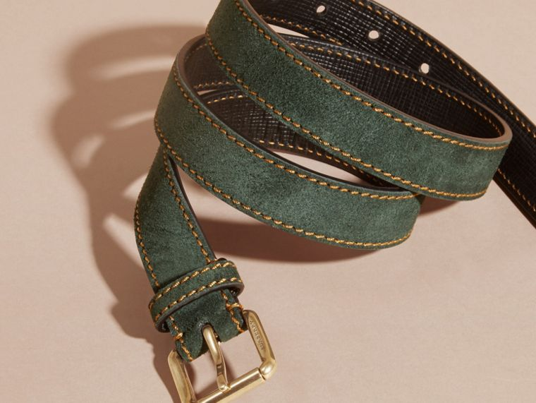 Dark forest green English Suede Belt with Topstitch Detail - cell image 2