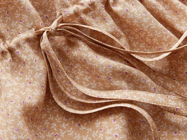 Floral Print Silk Gathered Dress in Light Copper - Women | Burberry - cell image 1