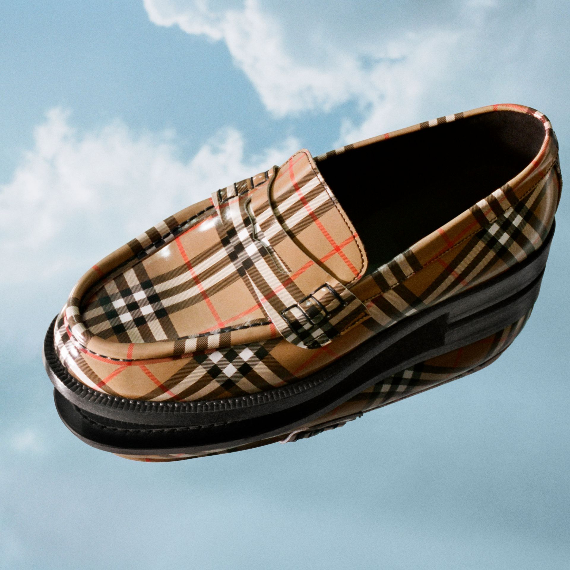 Gosha x Burberry Check Leather Loafers in Antique Yellow - Men | Burberry Hong Kong - gallery image 1