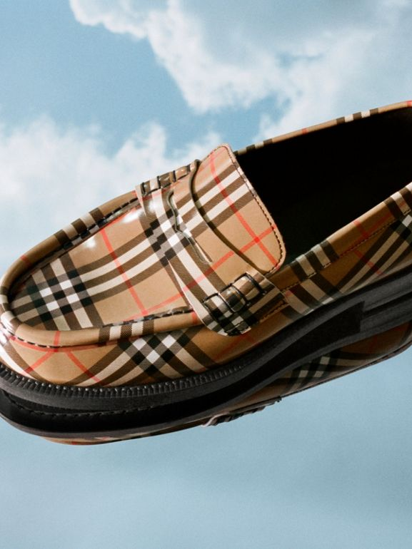 Gosha x Burberry Check Leather Loafers in Antique Yellow - Men | Burberry - cell image 1