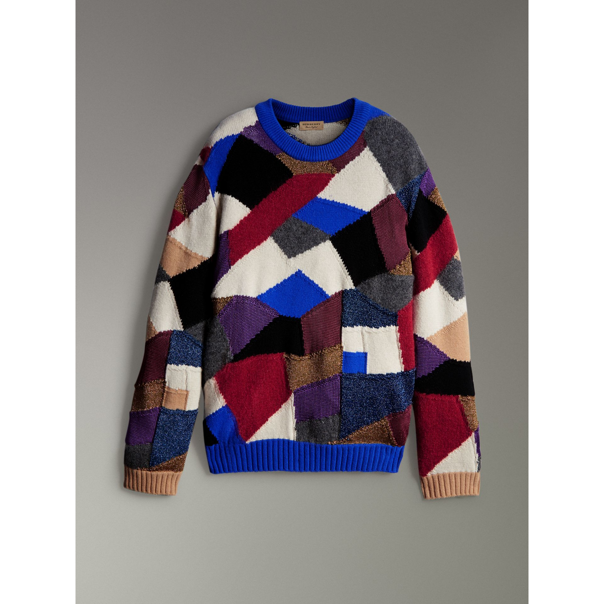 Patchwork Cashmere Wool Blend Sweater in Cobalt Blue - Men | Burberry United Kingdom - gallery image 3