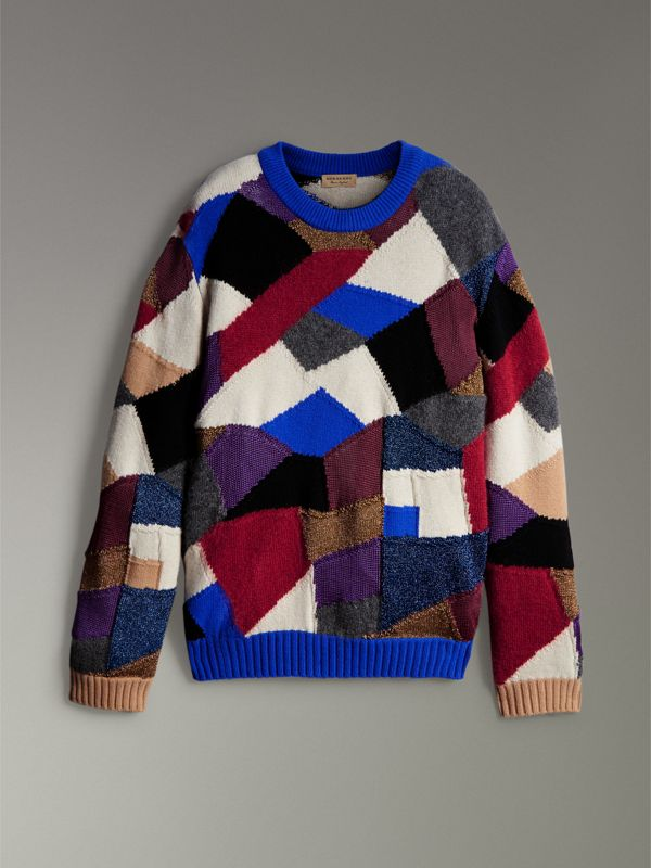 Patchwork Cashmere Wool Blend Sweater in Cobalt Blue - Men | Burberry - cell image 3