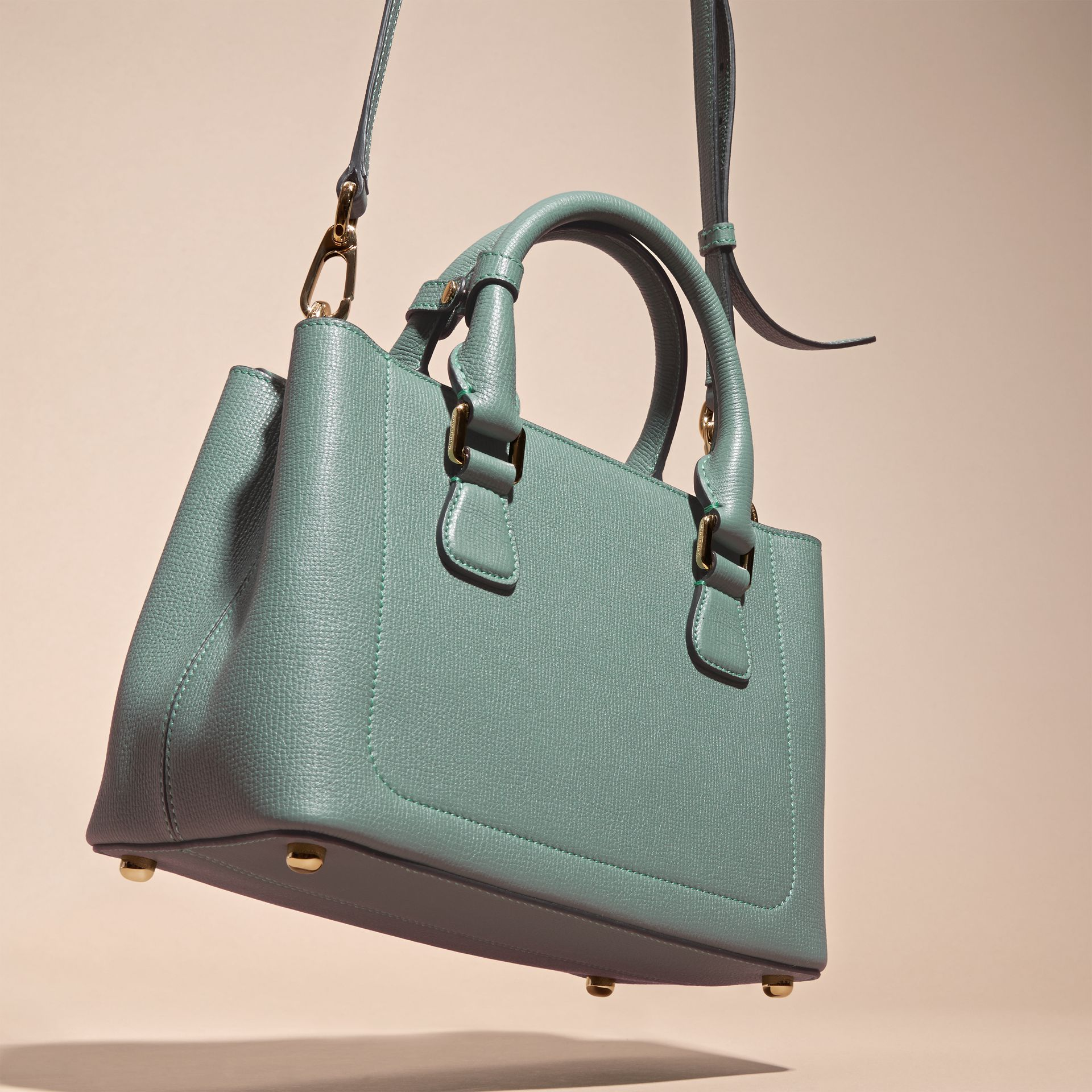 Smokey green The Small Saddle Bag in Grainy Bonded Leather Smokey Green - gallery image 4