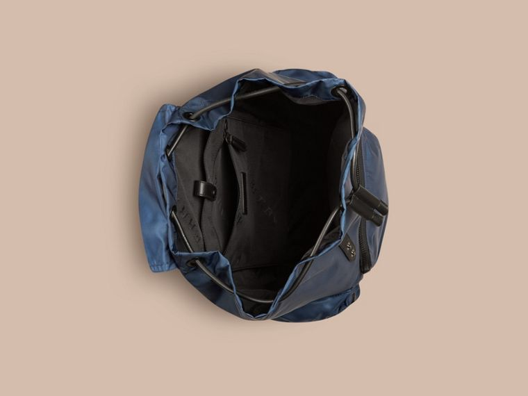 The Large Rucksack in Technical Nylon and Leather Steel Blue - cell image 4