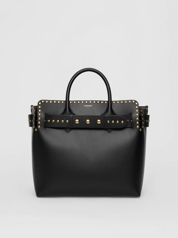 The Medium Studded Leather Triple Stud Belt Bag in Black