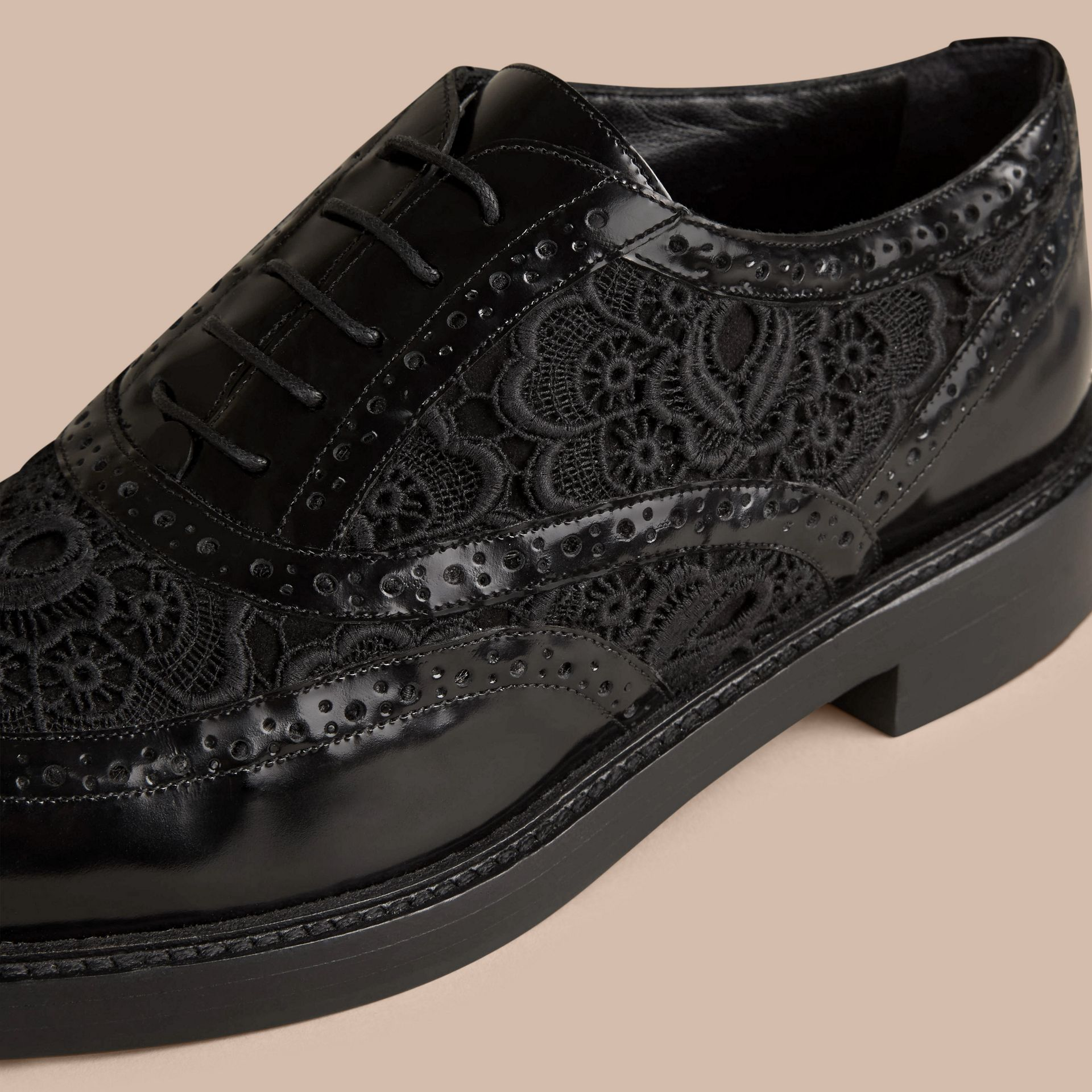 Black Leather and Lace Wingtip Brogues - gallery image 2
