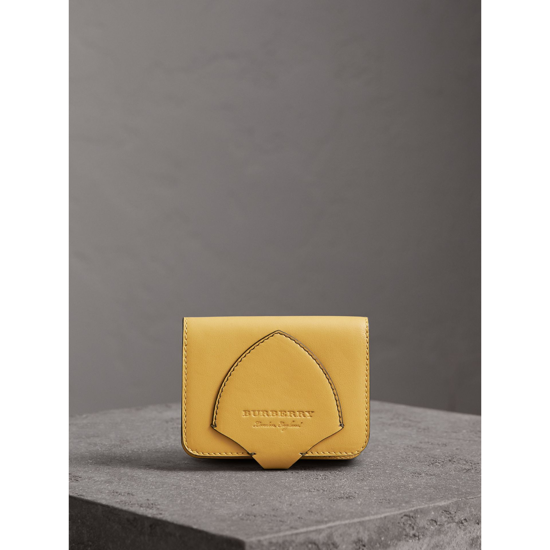 Equestrian Shield Leather Card Case in Larch Yellow | Burberry - gallery image 4