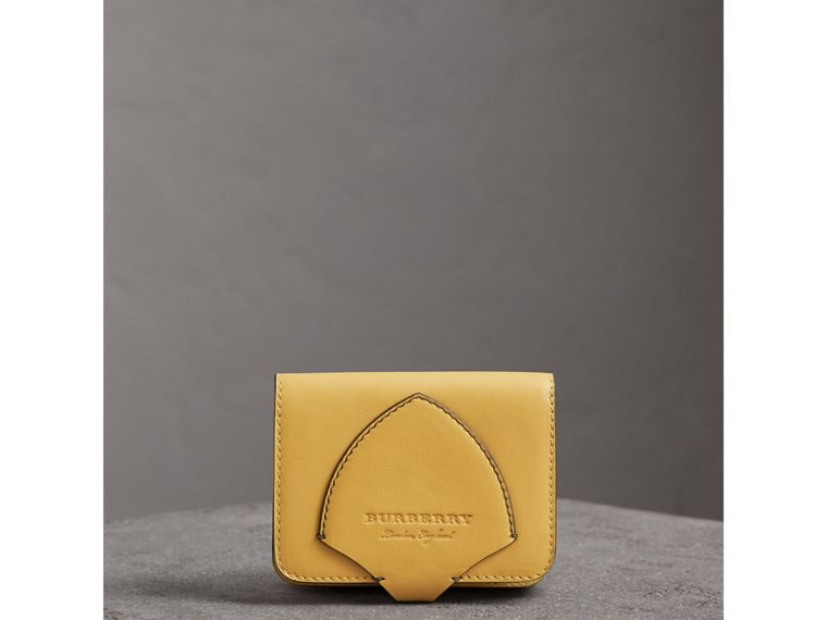 Equestrian Shield Leather Card Case in Larch Yellow | Burberry United States - cell image 4