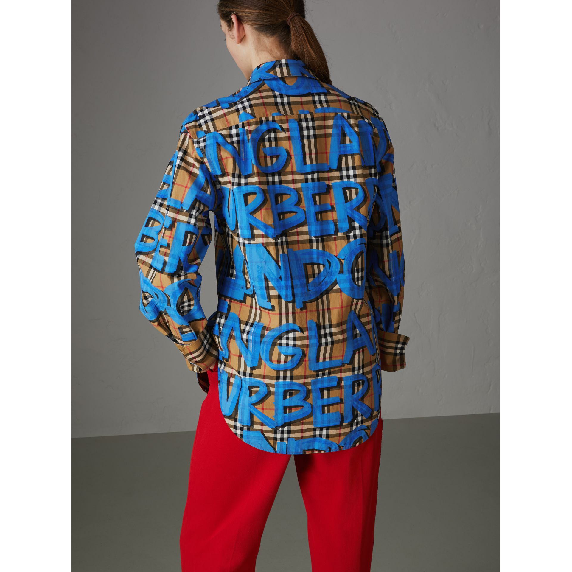 Graffiti Print Vintage Check Cotton Shirt in Bright Blue - Women | Burberry - gallery image 2
