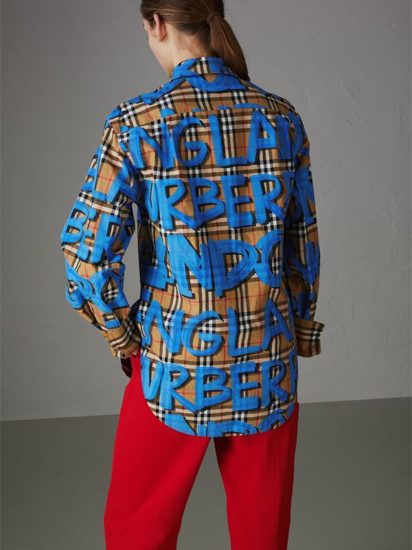 Graffiti Print Vintage Check Cotton Shirt in Bright Blue | Burberry - cell image 2