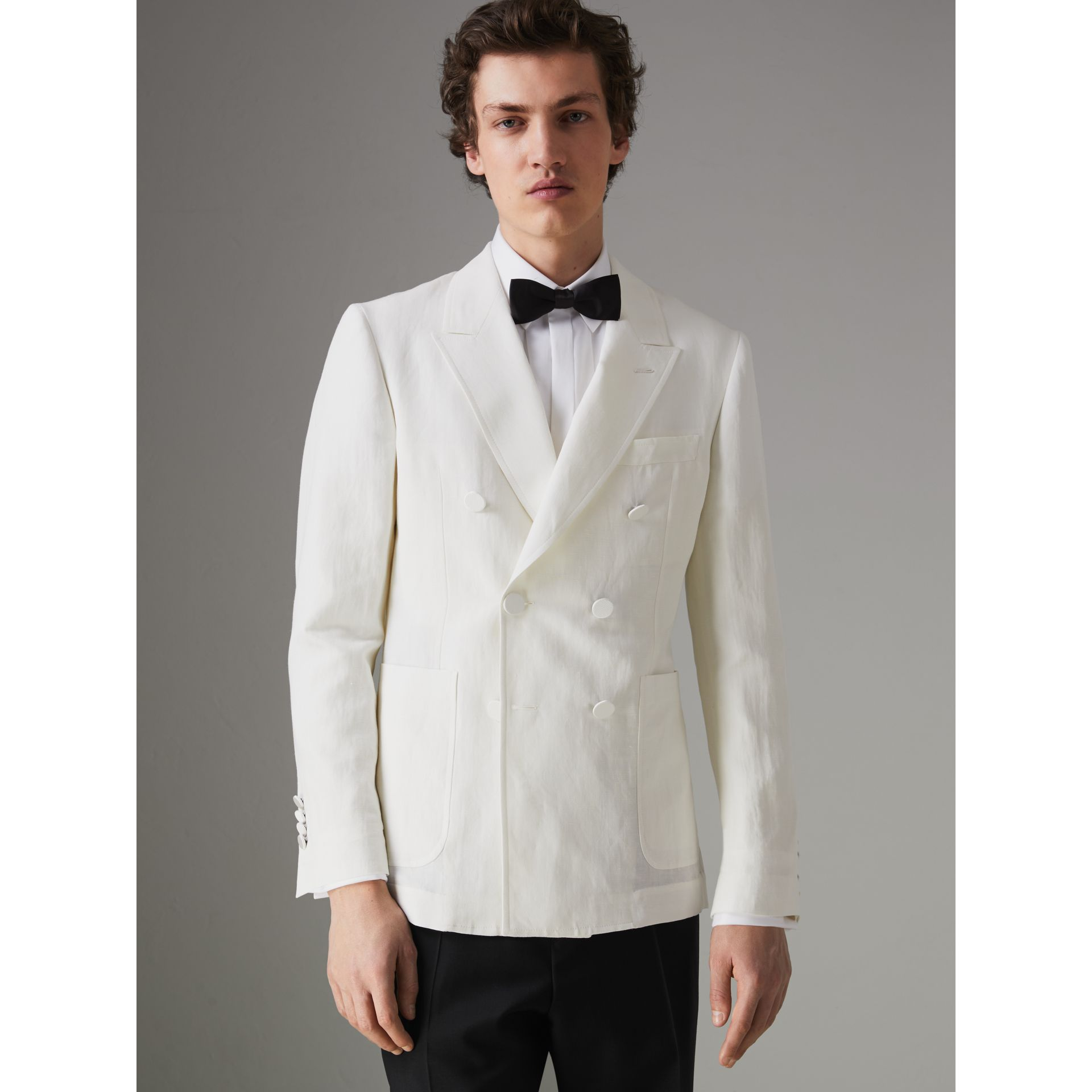 Linen Silk Double-breasted Tailored Jacket in Off White - Men | Burberry United Kingdom - gallery image 6